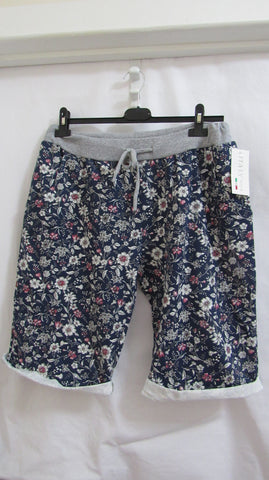 NEW Ladies Blue Floral Shorts One Size Fits Sizes 18 20 22 PLUS SIZE
