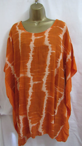 NEW Ladies Lagenlook Orange Tie Dye Frill Tunic Top One Size Fits 18 20 22 24