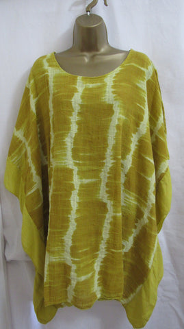 NEW Ladies Lagenlook Mustard Tie Dye Frill Tunic Top One Size Fits 18 20 22 24