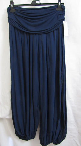 New Ladies Blue Harem Trousers Day Evening Summer One Size fits sizes 12 14 16 18