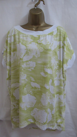 Ladies Italian Lagenlook Lime White Floral Tunic Top Day Evening ONE SIZE FITS 12 14 16 18