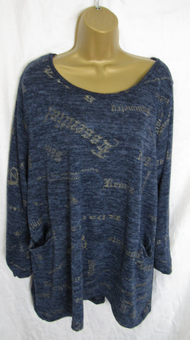 NEW Ladies Blue Gold Thread Pattern Pocket Lightweight Tunic Jumper Top One Size Fits 16 18 20 22