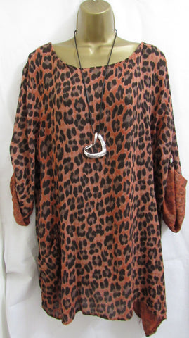 NEW Lagenlook RUST POCKET ANIMAL PRINT TUNIC TOP ONE SIZE FITS 16 18 20 22