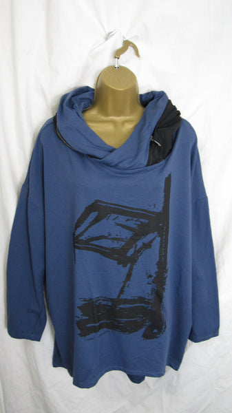 SALE SALE SALE NEW Ladies Denim Blue Splash Hooded High Low Tunic One Size Fits 16 18 20 22 NON RETURNABLE