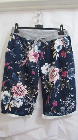 NEW Ladies Blue Floral Shorts One Size Fits Sizes 16 18 20 PLUS SIZE