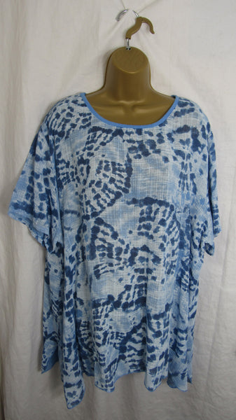 NEW Ladies Bright Blue Tie Dye Cotton Top One Size Fits 16 18 20