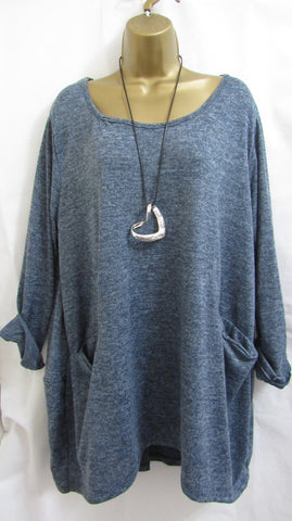 NEW Ladies Lagenlook BLUE POCKET Lightweight Tunic Jumper Top ONE SIZE FITS 16 18 20 22