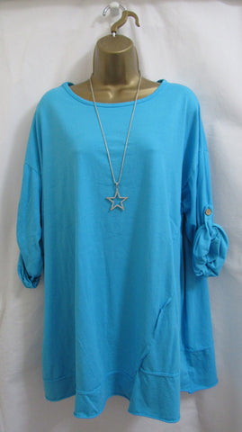 NEW Ladies Lagenlook AQUA BLUE STRETCHY TUNIC TOP T-SHIRT ONE SIZE FITS 16 18 20 22