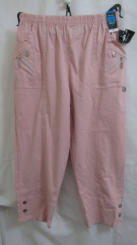 NEW Ladies Pink Stretch 3/4 length capri trousers pants Sized Item 12 14 16 18 20 22 24