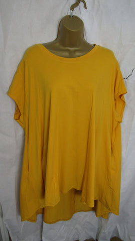 NEW Ladies Lagenlook Gold High Low Swing Tunic Top One Size Fits 12 14 16 18 20 22