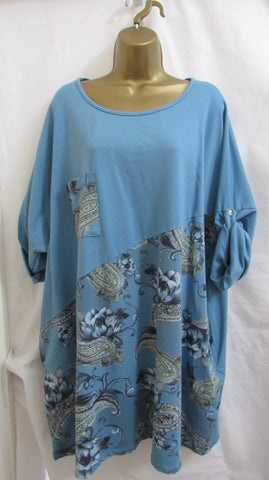 NEW Ladies Lagenlook BLUE FLORAL TUNIC TOP ONE SIZE FITS 20 22 24