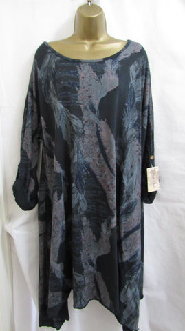 NEW Ladies Lagenlook BLACK FLORAL Dress Tunic TOP ONE SIZE FITS 16 18 20 22
