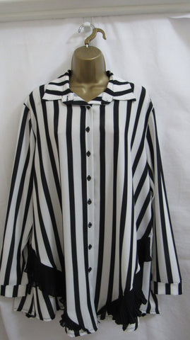 NEW Ladies Lagenlook BLACK WHITE STRIPE BUTTON SHIRT BLOUSE ONE SIZE FITS 16 18 20 22