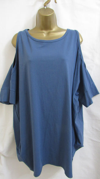 NEW Ladies Denim Blue Cold Shoulder Tunic Top One Size Fits 12 14 16 18 20