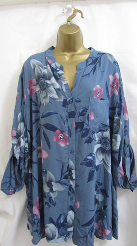 NEW Ladies Lagenlook Blue Floral Grandad Collar Plus Button Down Shirt ONE SIZE FITS 18 20 22 24
