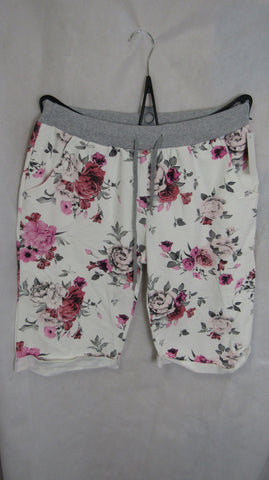 NEW Ladies Pink White Floral Shorts One Size Fits Sizes 16 18 20 PLUS SIZE