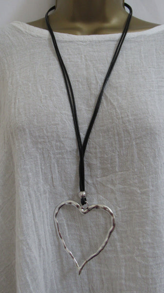 NEW Lagenlook Silver Coloured HEART Pendant Nickle Free Long LEATHER STRAP Necklace MCC52207