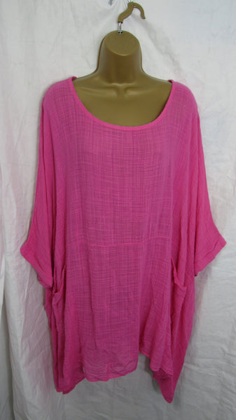 NEW Ladies Floaty Hot Pink Pocket Tunic Top One Size Fits 20 22 24