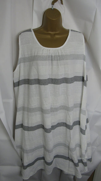 NEW Lagenlook White Stripe Sun Dress Sleeveless One Size Fits 14 16 18 20
