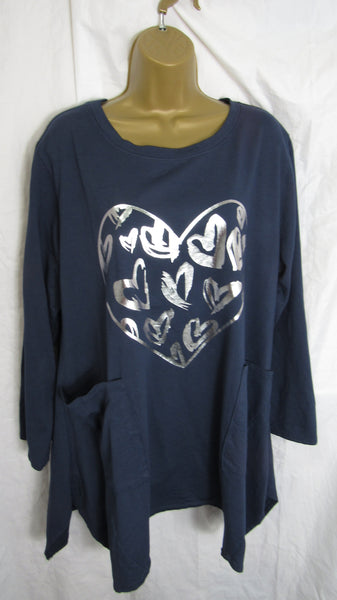 NEW Ladies Blue Heart Handkerchief Hem 100% Natural Products Tunic Top One Size Fits 16 18 20
