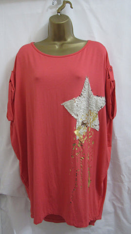 NEW Ladies Italian Lagenlook CORAL Shooting Star Tunic Top ONE SIZE FITS 14 16 18 20 22