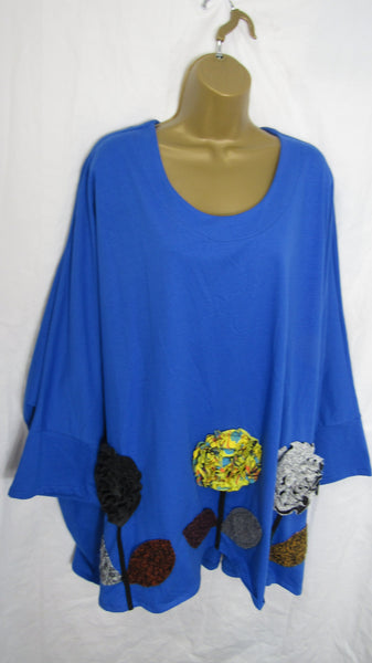 NEW Ladies Royal Blue Flower Bottom Hem Tunic Top One Size Fits 16 18 20 22 24