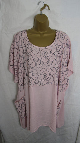 NEW Ladies Womens Dusky Pink Floral Pocket Tunic Top One Size Fits 18 20 22