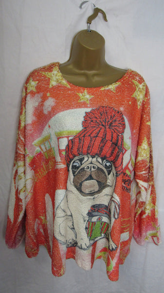 SALE SALE SALE NEW Ladies Lagenlook Pug Christmas Jumper One Size Fits 16 18 20 22 NON RETURNABLE