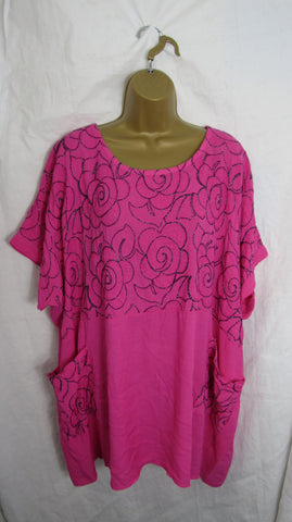 NEW Ladies Womens Hot Pink Floral Pocket Tunic Top One Size Fits 18 20 22