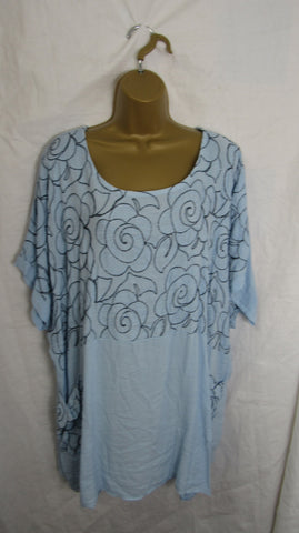 NEW Ladies Womens Sky Blue Floral Pocket Tunic Top One Size Fits 18 20 22
