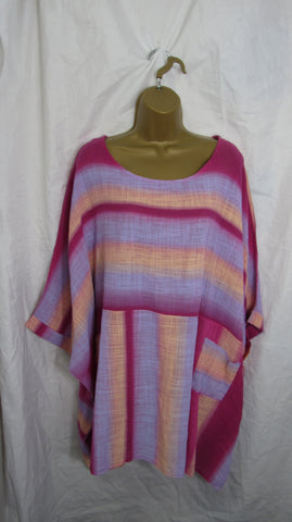 NEW Ladies Hot Pink Tie Dye Tunic Top One Size Fits 20 22 24 26 Plus