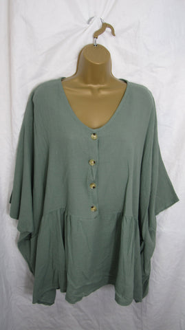 NEW Ladies Womens Khaki Green V Neck Smock Pocket Tunic Top One Size Fits 20 22 24 26