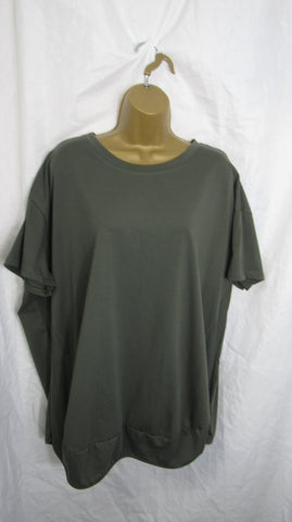 NEW Ladies Khaki Green T Shirt Top One Size Fits 12 14 16 18 20