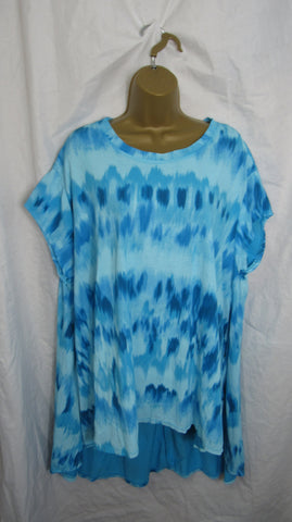 NEW Ladies Aqua Blue Tie Dye Pocket High Low Swing Tunic Top One Size Fits 12 14 16 18 20 22