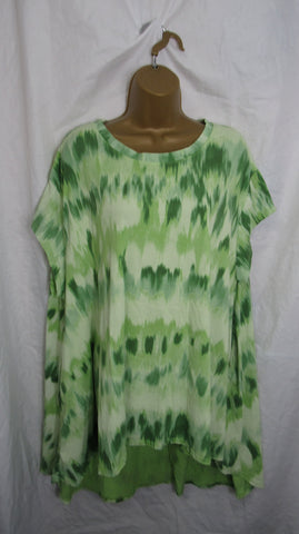 NEW Ladies Lime Green Tie Dye Pocket High Low Swing Tunic Top One Size Fits 12 14 16 18 20 22