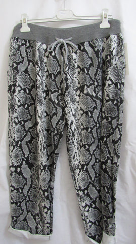 NEW Ladies BLACK SNAKE PRINT Joggers Leggings ONE SIZE FITS 14 16 18