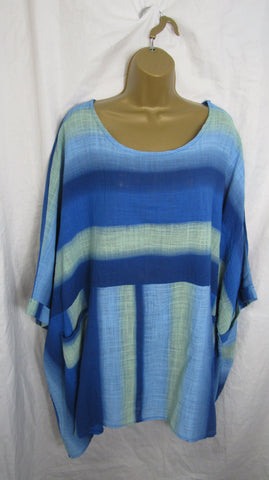 NEW Ladies Royal Blue Tie Dye Tunic Top One Size Fits 20 22 24 26 Plus