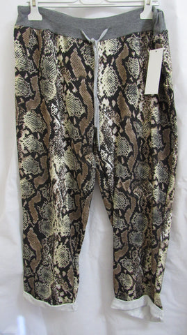 NEW Ladies BROWN SNAKE PRINT Joggers Leggings ONE SIZE FITS 14 16 18