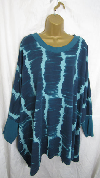 NEW Ladies Blue Tie Dye Tunic Top One Size Fits 18 20 22 24 26