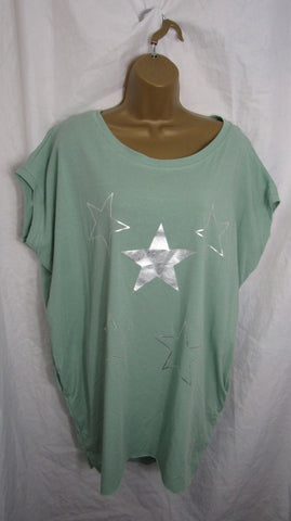 Ladies Italian Sage Stars Pocket Tunic Top Short Sleeved One Size Fits 14 16 18 20