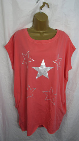 Ladies Italian Coral Pink Stars Pocket Tunic Top Short Sleeved One Size Fits 14 16 18 20