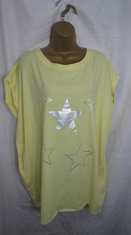 Ladies Italian Lemon Yellow Stars Pocket Tunic Top Short Sleeved One Size Fits 14 16 18 20