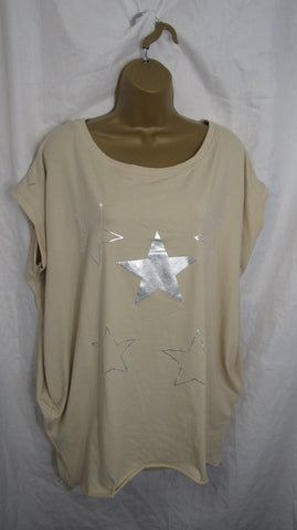 Ladies Italian Beige Stars Pocket Tunic Top Short Sleeved One Size Fits 14 16 18 20