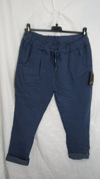 NEW Ladies Denim Blue Stretchy Magic Trousers One Size Fits 10 12 14 16 STANDARD
