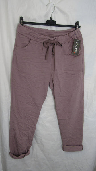NEW Ladies Pink Stretchy Magic Trousers One Size Fits 10 12 14 16 STANDARD