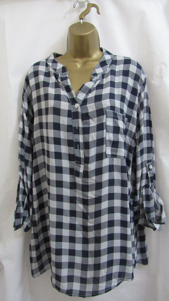 a3f93c648d7 NEW Ladies Lagenlook Blue with Grey Check Grandad Collar Plus Button D –  Michelle Chapman Clothing