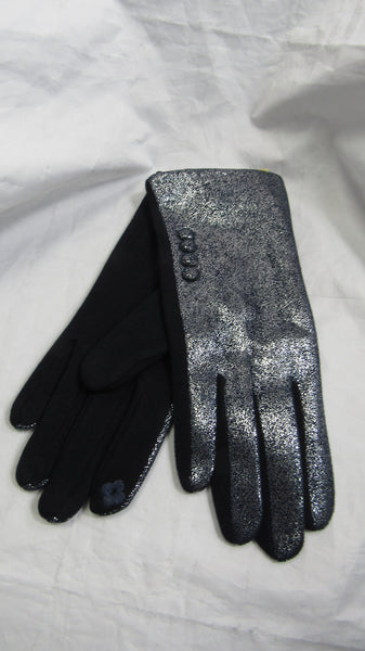 NEW Ladies Womens Blue Sparkle Button Stretch Gloves
