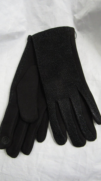 NEW Ladies Womens Black Sparkle Stretch Gloves