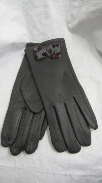 NEW Ladies Womens Grey Gloves with Leopard Print Bow Stretch Gloves