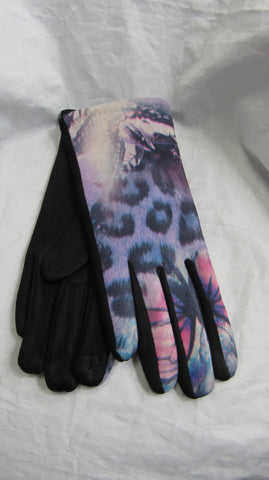 NEW Ladies Womens Lilac Print Stretch Gloves